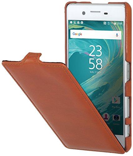 StilGut UltraSlim Hülle Hülle Leder-Tasche für Sony Xperia X Performance. Dünnes 360 Grad Flip-Hülle vertikal klappbar aus Echtleder, Cognac