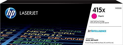HP 415X W2033X Cartuccia Toner Originale ad Alta Capacità da 6000 Pagine per Stampanti HP Color LaserJet Serie Pro M454 e M479, Jetintelligence, Magenta