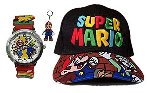 YUMEIJING Reloj Hat Mario Bros Moda Fiesta de cumpleaños Baby Show Cap Mario Bordado Dibujos Animados Sombreros para el Sol Gorras Planas Snapback Suministros Regalo Favor