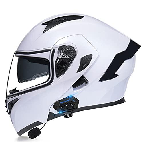 NS Casco Moto Bluetooth Flip Motocross Casco Integral para Adultos Hombres Mujeres con Visera Doble Antivaho Moto Walkie Integrado Modular Casco Locomotora (Color : H, Size : M)