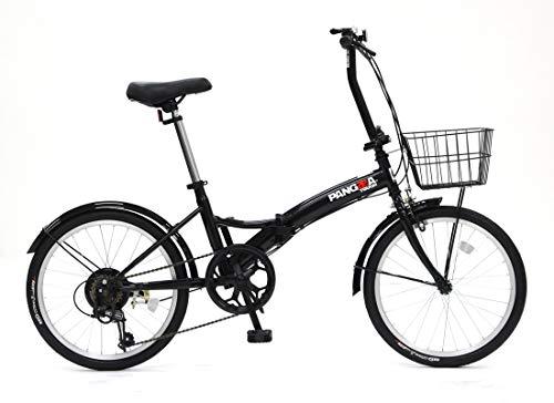 PANGAEA(パンゲア) パンクしない折りたたみ自転車 タフ ブラック ノーパンクタイヤを採用 20インチ 6段変速 バスケット/泥除け装備 94201-0199