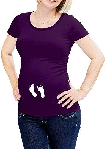 LOVE RULES witzige Umstandsmode T Shirt Babyfüße by Coole Schwangerschaftsmode Baby wächst mit dem Babybauch - 90{cfda2c1e1e50d80a7d092db65560df27e36b66d6ebbb6a2ea5164be0492604dd} Baumwolle 10{cfda2c1e1e50d80a7d092db65560df27e36b66d6ebbb6a2ea5164be0492604dd} Elastan lila XXL-42