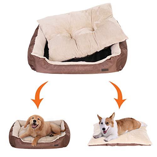 SONGMICS Hundebett mit beideseitig nutzbarem Hundekissen, kuschelig und groß (L: 90 x 70 x 17 cm) - 2