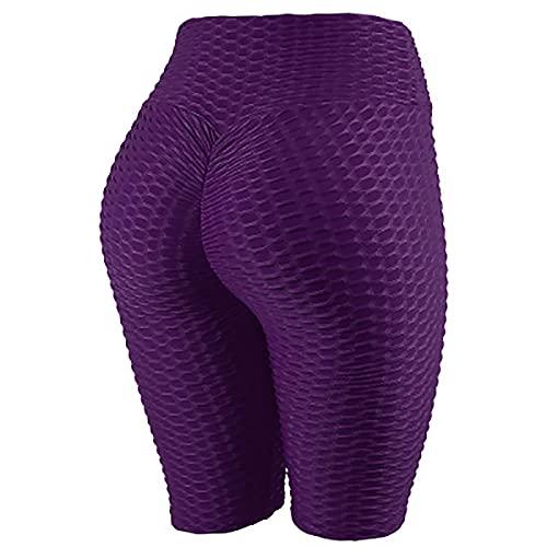 Nileco Leggings De Cintura Alta para Mujer,Leggings Escrunch,Control De La Barriga Levantamiento De Butt Pantalones De Yoga,TIK Tok Leggings-Pantalones de Cinco Puntos/púrpura XXL