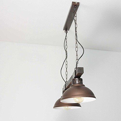 Geschmackvolle Hängeleuchte in Burgund Holzfarben Vintage 2x E27 bis zu 60 Watt 230V aus Metall & Holz Küche Esszimmer Pendelleuchte Hängelampe Pendellampen Beleuchtung innen