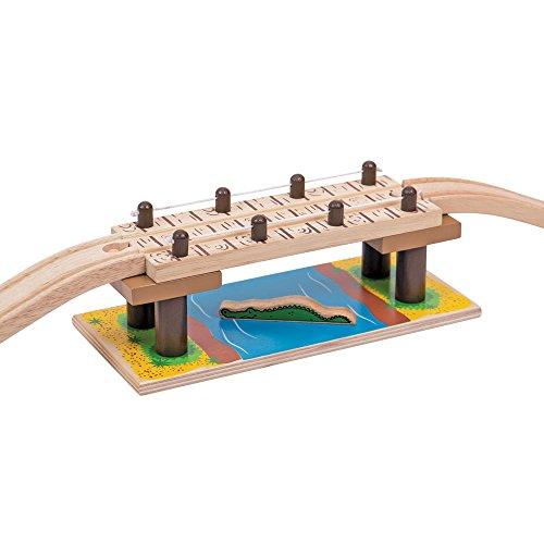 Bigjigs Rail Pont de Corde Suspendu Safari | Train en Bois | Circuit Train Bois | Jouet Enfant | Jouet Éducatif | Cadeau Enfant | Jouet en Bois | Compatible avec Autre Marques de Train en Bois