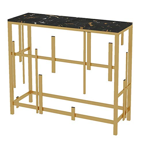 Axdwfd Table d'appoint Console, Salon Fer forgé Or Décoration Marbre Porche Table, Partition Table Cabinet Porche côté 31,4 × 11,8 × 29,5 Pouces Porte Tablette
