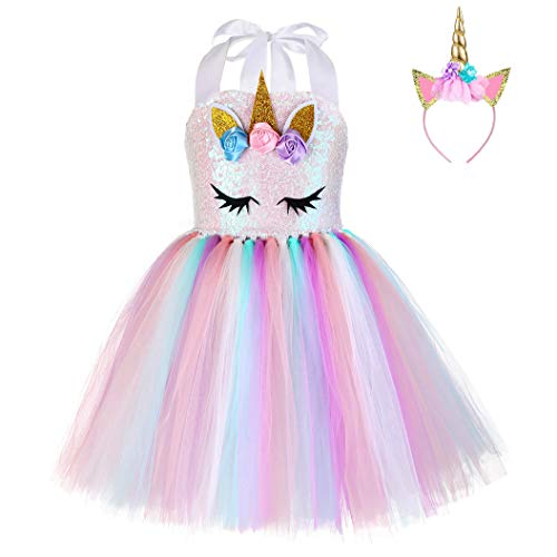 FONLAM Vestido de Bautizo Fiesta Niña Disfraz de Unicornio Princesa Tutú Vestido Infantil Flores Carnaval Niña (XL 7-8 Años, Lentejuelas)