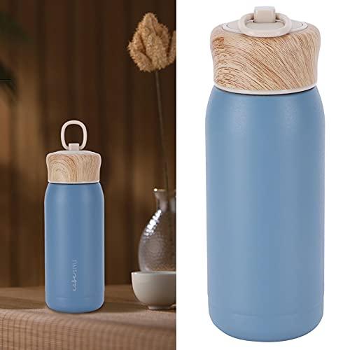 Taza térmica, botella de agua deportiva reutilizable con diseño de anillo portátil externo para niños adultos para fitness, deportes, gimnasio para viajes y al aire libre(Blue series)