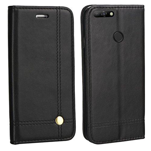 MOELECTRONIX Edle Buch Klapp Tasche SCHWARZ Flip Book Hülle Schutz Hülle Etui passend für Huawei Y7 2018 Dual SIM LDN-L21