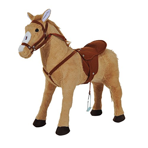 HOMCOM Kids Cuddly Toy Standing Horse Children Plush Soft Pony Ride On Game Play Fun Traditional Gift w/Neigh Sound Beige