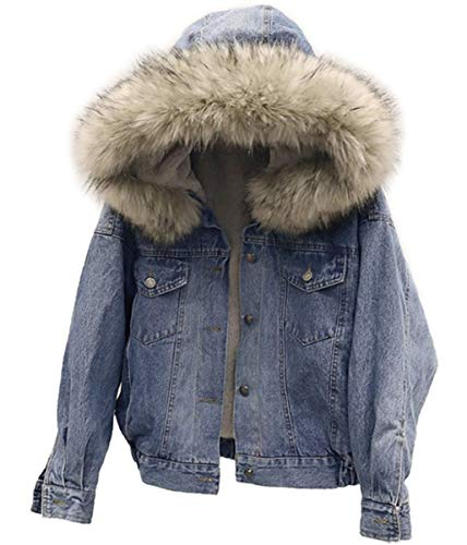 IWFREE Damen Jeansjacke Denim Jacke Wintermantel Frau Winterjacke Lang Warm Jeans Jacket Mantel Outwear Dicker Wolle Gefüttert Steppjacke Parka Winter Elegant Denimmantel mit Faux für Fellkapuze