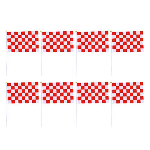 Toyvian 50 Stücke Mini Race Flags Checkered Hand Flagge für Tiny Car Racing Flags (Rot Weiß)