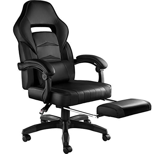 TecTake 800769 Bürostuhl mit Fußstütze, Chefsessel mit Lendenkissen, ergonomischer Schreibtischstuhl mit Armlehnen, höhenverstellbarer Gaming Stuhl - Diverse Farben - (Schwarz-Schwarz | Nr. 403461)