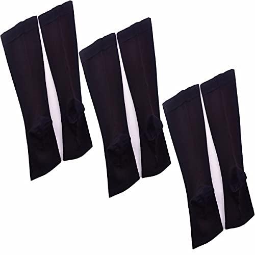 JJGS 3 Pares Calcetines de Compresión con Punta Abierta Medias de Compresión Calcetines Altos Opacos Calcetines de Soporte de 2 Colores Calcetines de Nylon con Punta Abierta Black-S