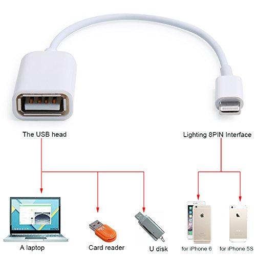 8pin macho a USB hembra OTG Cable adaptador para iPhone 655C 5S I Pad 4Mini aire