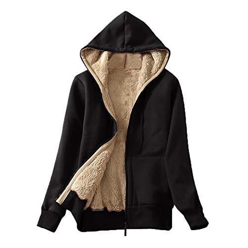 HUYURI Damen Langarm Kapuzenpullover einfarbig Mantel Damen mit Kapuze Casual Winter Warm Sherpa Gefüttert Zip Up Kapuzenpulli Jacke