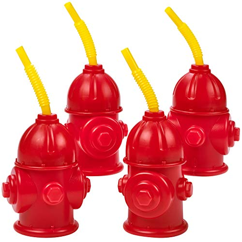 Straw Fire Hydrant Cups with Lids - (Pack of 4) Bonus Squirt Fire Extinguisher, Reusable 12 oz, Red Plastic Fire Truck Party Supplies Cups and Firefighter Birthday Party Favors for Kids by Bedwina