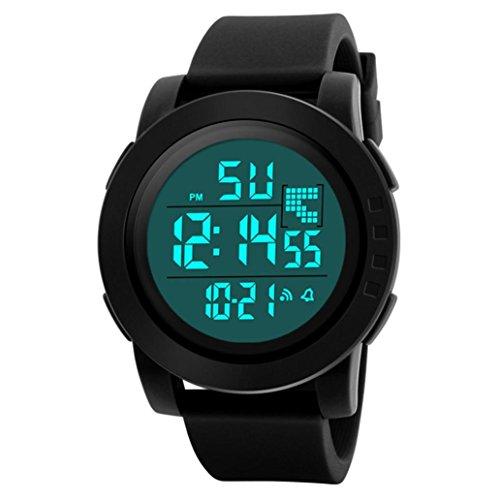 Zarupeng Digitaal herenhorloge, analoge digitale horloges voor outdoor sport smartwatch, led-screen, waterdicht, wekker, timer, kalender