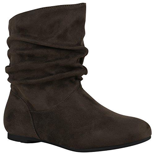 Damen Schlupfstiefel Leder-Optik Stiefeletten Bequeme Schuhe Schuhe 148944 Dunkelgrün Samtoptik 37 Flandell