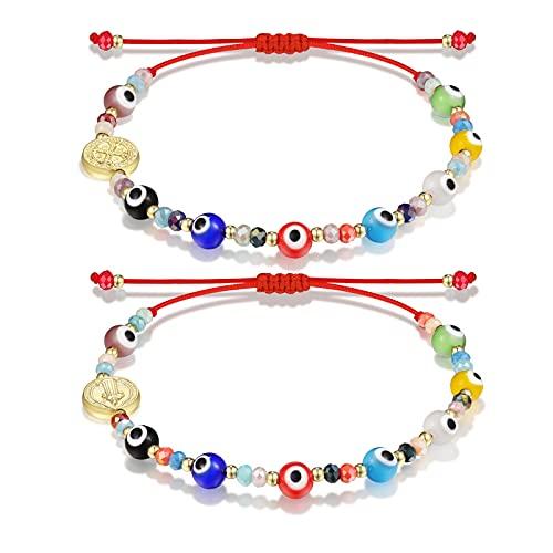 Evil Eye Bracelet Red Ojo Bracelet for Women Men Protection Kabbalah San Benito Medal Nazar Amulet Bracelet for Women Men Family
