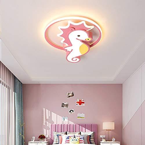 Moliay Techo niña de dibujos animados Sala de la Princesa Protección de los ojos LED de la lámpara creativa Rosa Hippocampus acrílico luz de techo Montaje de la sala de estar Niña Niño for habitacione