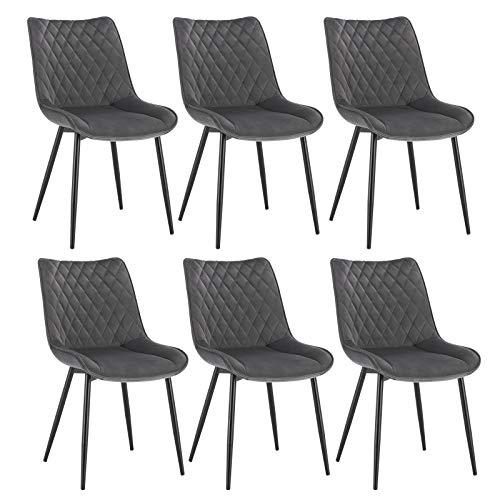 WOLTU® Esszimmerstühle BH209dgr-6 6er Set Küchenstuhl Polsterstuhl Wohnzimmerstuhl Sessel mit Rückenlehne, Sitzfläche aus Samt, Metallbeine, Dunkelgrau