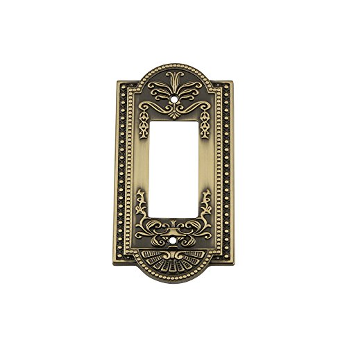 Nostalgic Warehouse 719713 Meadows Switch Plate with Single Rocker, Antique Brass