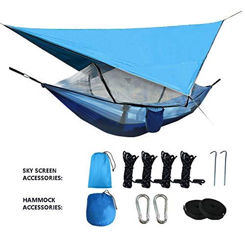 QQEER 260 * 140cm Portable Camping avec hamac Amovible Mosquito Net Bug, Pluie Fly Tarp, Parfait pour Camping Randonnée Voyage Plage extérieure,Blue
