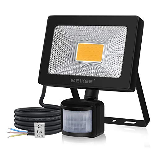 MEIKEE Security Lights Outdoor Motion Sensor 20W, 2000LM PIR LED Floodlights, 3000K Warm Light IP66 Waterproof Outdoor Wall Light for Garage, Garden & Doorway