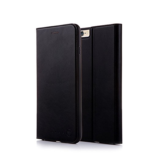 Nouske iPhone 6 Plus&6S Plus 5.5 inch Flip Folio Wallet Stand up Credit Card Holder Leather Case Cover Holster/Magnetic Closure/TPU bumper/360 Full Body Protection, Black