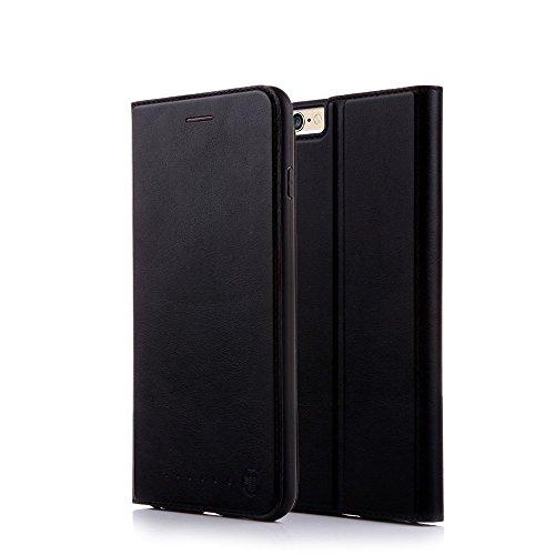 Nouske iPhone 6 Plus/6s Plus Hülle 5.5 Zoll Stand Etui with Karte Halterung Leder Wallet Klapphülle Flip Book Case TPU Cover Bumper Tasche Ultra Slim, Schwarz