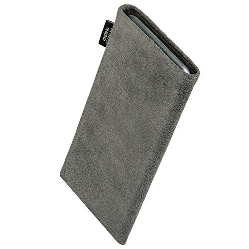 fitBAG Classic Grau Handytasche Tasche aus original Alcantara mit Microfaserinnenfutter für Huawei Ascend D Quad/D Q   Hülle mit Reinigungsfunktion   Made in Germany - 2