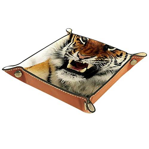 Bandeja de almacenamiento de cuero,bandeja de bolsillo,bandeja de valet,contenedor de bandeja de joyería,Tigre de invierno ,plato