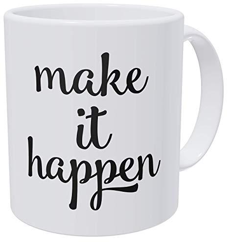 Tazas de café para mujer con texto en inglés 'Make It Happen, Work Birthday For Women and Boss Lady 11 Ounces Coffee Mugs For Women, Awesome Graduation, Woman Thank You, Beautiful For Women Mom Boss'