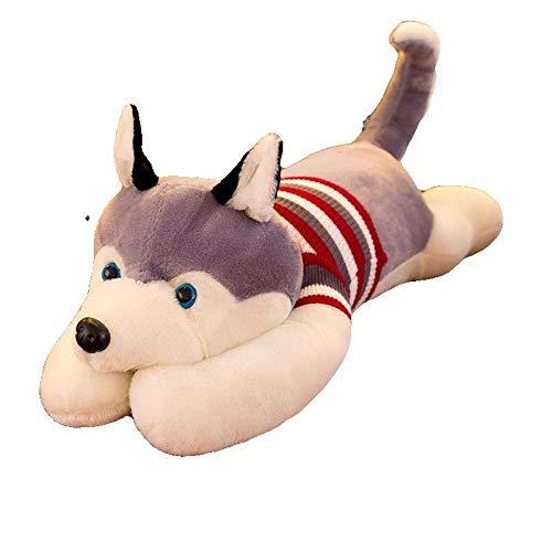Recordever Trui Husky Knuffel Hondenpop Verjaardagscadeau-grijs_100cm