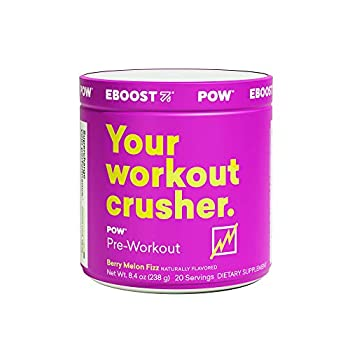 EBOOST POW Natural Pre-Workout – 20 Servings - Berry Melon Fizz - A Pre Workout Supplement for Performance Joint Mobility Support Energy Focus - Men and Women - Non-GMO Gluten-Free No Creatine