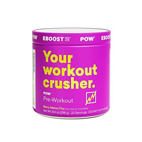 Eboost Natural Pow Pre-Workout Powder Tub 8.4 oz (20 Servings) (Berry Melon Fizz)