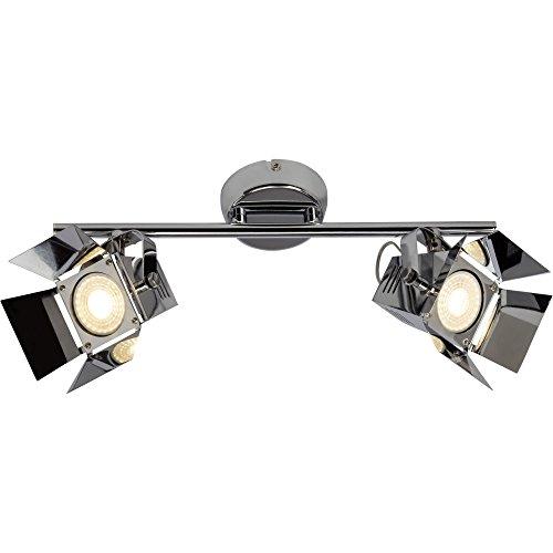 LED Deckenleuchte, Spotbalken im Movie Design, 2x GU10 LED inkl, 345 Lumen, 3000K warmweiß, Metall, chrom