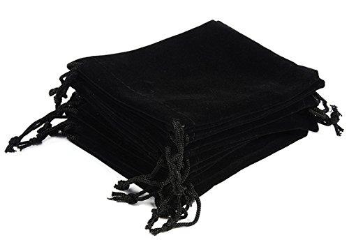 ALPHA DIMA 10 Stück 10x15cm Samtbeutel Samt Tunnelzug Taschen Schmuck Verpackung Beutel Hochzeit Party Geschenksäckchen(Schwarz)
