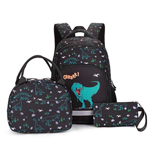 Bansusu 3Pcs Cool Dinosaur Elementary Boys Rucksack Large Primary Middle School Bag Backpack Set with Lunch Bag