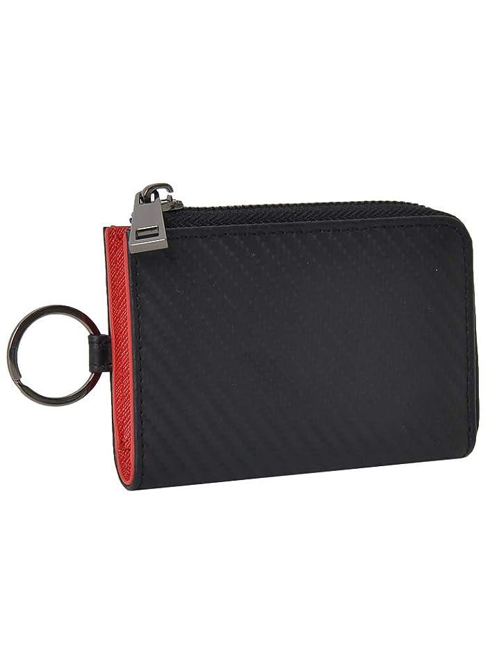 実施する縫い目天のキーケース メンズ 本革 カーボンレザー チェーン付き スマート L字型ジップ カードケース レディース 男女兼用