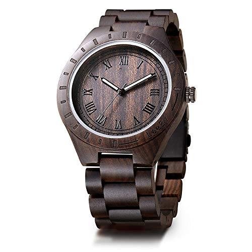 WHQ Holztisch Moderne handgemachte Holz-Uhr-Männer Sandelholz-Uhr-Quarz Holz Tisch Holzmaserung Uhr, mit leuchtendem, das besten Urlaub Geschenk QD (Color : A)