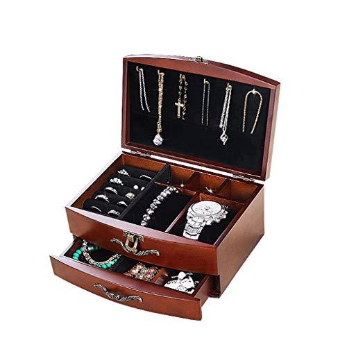 XYZMDJ Caja de Almacenamiento de joyería de Madera Antigua Retro Tallada Caja de Almacenamiento Caja de contenedores Organizador de exhibición de Joyas con Regalo de Bloqueo (Color : Red)