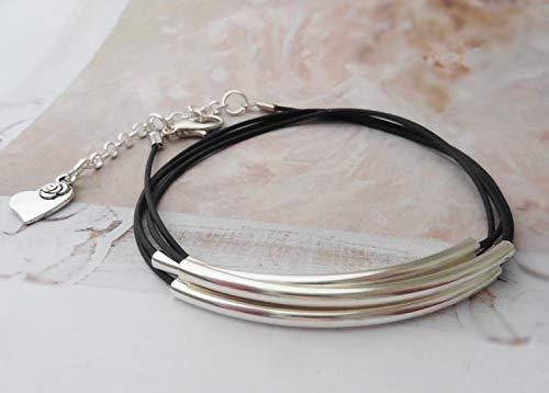 Armband Kautschuk Röhren versilbert schwarz Wickelarmband Größe verstellbar Handmade