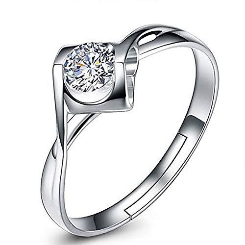 QYQS S925 Anillo de Plata Anillo de Diamantes en Vivo en la versión Femenina de Corea del Anillo de Apertura del Beso del ángel en Forma de corazón Anillo de Diamantes, Regalo Personalizado