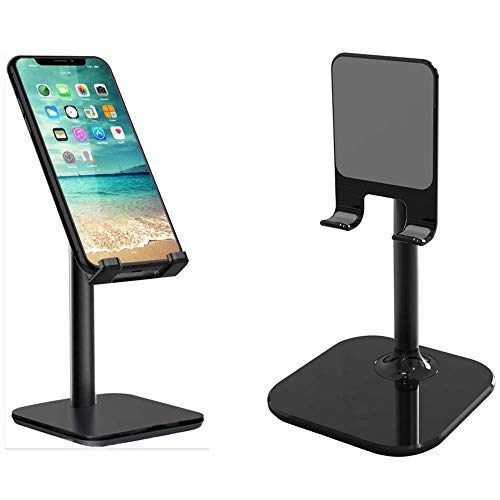 Height Adjustable Multi- Angle Potable Cell Phone Tablet Desktop Stand Holder Mount Cradle Universal for LG 8.0, 9.7 iPad iPod 12.9 iPad Pro, Samsung Galaxy Tab A 10.1, 10.5, Nintendo Switch (Black)