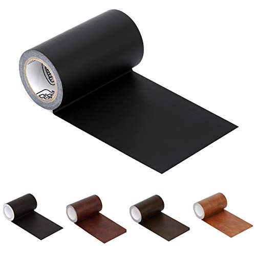 "Leather Repair Tape Patch Leather Adhesive for Sofas, Car Seats, Handbags, Jackets,First Aid Patch 2.4""X15' (Black)"