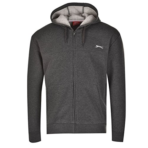 Slazenger SL FZ - Sudadera con capucha y manga larga para hombre, estilo casual, gris oscuro, large