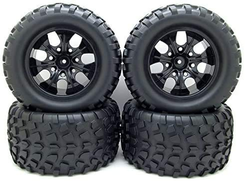 jiuwu 12mm Hub Wheel Rim and Tires 1:10 Off-Road RC Car Buggy Tyre with Foam Inserts Black Pack of 4